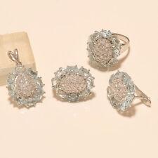 Natural Siberian Aquamarine Ring Earring Pendant 925 Sterling Silver Jewelry Set