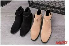 Fashion Mens Pointy Toe Buckle Pull On Oxford Casual High Top Shoes Chelsea Boot