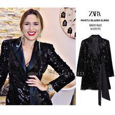 Zara Aw19 Sequin Blazer Dress Black 8809/860 Size XS NWT