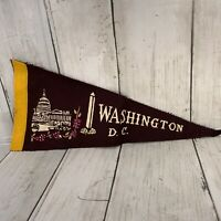"Vintage Washington DC Felt Pennant 12"" Well Worn No Tassels Capital  Memorial"