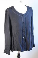 Doncaster Collection 14 Black 100% Silk Pearl Button Blouse Top