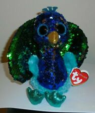 "Ty FLIPPABLES ~ TYSON the Peacock 6"" Beanie Boos NEW ~ IN HAND"