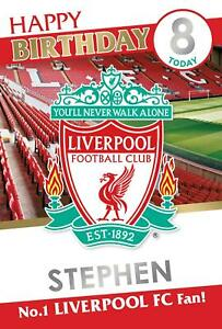 Official LIVERPOOL FC Birthday Card - Add NAME + AGE with Stickers provided