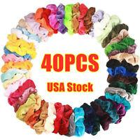 20/40Pcs Women Hair Scrunchies Velvet Elastic Scrunchy Hair Bands US STOCK