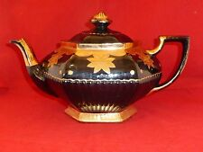 Stylish Antique Victorian Blackware/Jackfield Teapot with Gilt Floral Collar