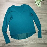 ALO YOGA Green Waffle Knit Thermal Long Sleeve Size Small Mesh Back