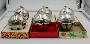 LOT OF 6 WALLACE SILVERSMITHS ANNUAL CHRISTMAS ORNAMENT BELL SILVER PLATE10146-1