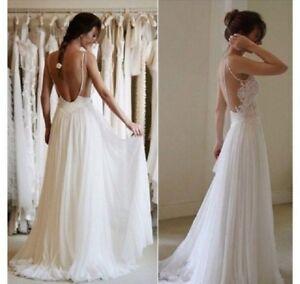 Backless Lace Spaghetti Bridal Gown Boho Beach Chiffon Wedding Dress 6 8 10 12++