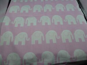 Cotton Fabric - Large FQ -   ELEPHANTS on pink
