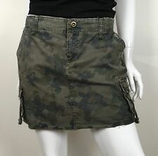 Old Navy Skirt 100% Cotton Cargo 6 Pockets Army Green Floral Print Size 8
