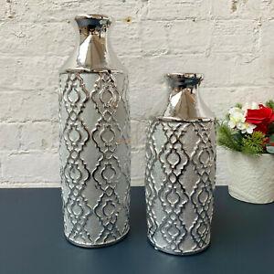 Silver Paisley Art Ceramic Decor Display Flower Wedding Table Vases CLEARANCE