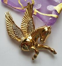 Gold Plated and Rhinestone Pegasus Brooch