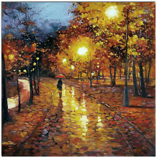 """Rainy Night - Hand Painted Impressionist Landscape Oil Painting Canvas 20x20"""""""