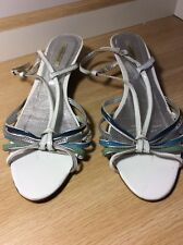 TONY BIANCO LOW WEDGE SANDAL, SIZE 10, WHITE WITH BLUE, GREEN & GREY