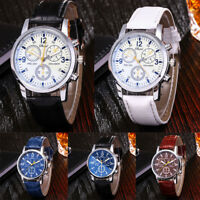 Fashion Women Men Stainless Steel Leather Band Quartz Analog Sport Wrist Watch