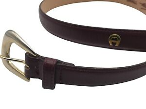 """VTG Aigner belt small oxblood leather smooth skinny 3/4"""" gold buckle classic"""