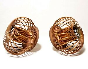 MODERNIST VINT PR ROUND SPIRAL COPPER COILED WIRE CANDLE HOLDERS ON CUPPED BASES