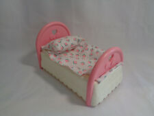 1994 Fisher Price Loving Family Dollhouse Twin Pink Bed With Attached Bedding