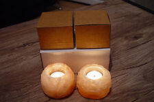 Himalayan Crystal Rock Salt Candle Holders 2x Hand Carved Best SAHPE N Quality