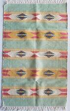 VINTAGE AZTEC NATIVE HAND MEXICAN SMALL MULTI COLOR RUG CARPET