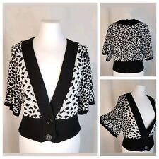 Majora Large Cropped Short Kimono Sleeve Shrug Sweater Black White Leopard Print