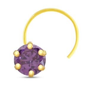 0.15 Ct Round Cut Amethyst Diamond Stud Piercing Nose Pin Ring Yellow Gold Over