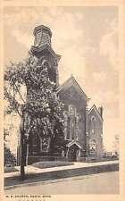 Cadiz Ohio ME Church Exterior Street View Antique Postcard K21124