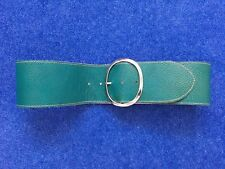 """Ladies leather belt by Garuglieri Italy Green size 32"""" Oval buckle detail"""