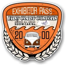 Rétro effet vieilli custom car show exposant pass 2000 vintage vinyl sticker decal