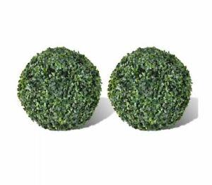 X2 Artificial Round Bushes Boxwood Ball 27Cm Fake Bush Replica Plastic Plant