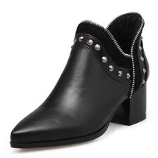 Chelsea Ankle Boots For Women Pointed Toe Rivet Zipper Flats Heel Booties US 6