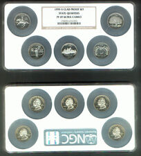 1st STATE QUARTER COLLECTION DE PA NJ GA CT 1999-S PROOF 69 ULTRA CAMEO  5 COINS