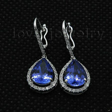 7x9mm Pear Tanzanite 14kt White Gold Natural Diamond Engagement Earrings