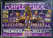 MELBOURNE STORM NRL PREMIERS 2012 LARGE POSTER FRAMED AND FULLY GLASSED