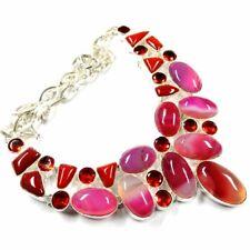 "Botswana Onyx Agate,Garnet 460.00Cts Silver Overlay Handmade Necklace 20"""