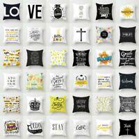 "18"" Polyester Black White Letter Pillow Case Sofa Throw Cushion Cover Home Decor"
