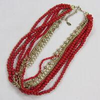 Vintage Necklace Robert Rose Multi Strand Red Gold