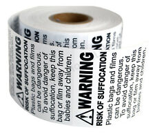 4 Rolls ; 500 Labels 2 x 2 Suffocation Warning FBA approved Labels/Stickers