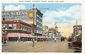 H46/ Moose Jaw Saskatchewan Canada Postcard c1910 Main Street Stores