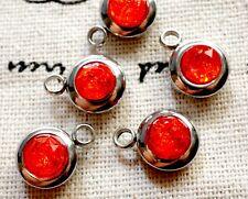 Round rhinestone charm red gem silver jewellery supplies C567