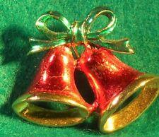 "Vintage Metal & Red & Green Enamel Christmas Bell Gold Tone Pin 1 1/8 x 1 1/2"""