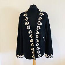 Viyella Black Merino Wool White Flower Detail Cardigan Size UK 18 Chunky