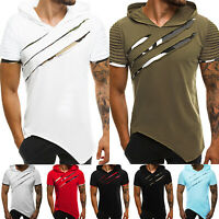 Fashion Men's Slim Fit Pleated Hooded Hoodie Short Sleeve Casual T-Shirt Tops