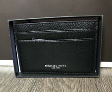 Michael Kors Card case w money clip Black New with gift box