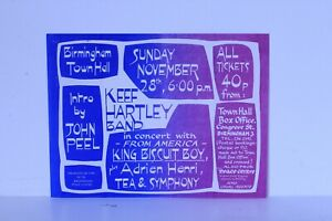 Original Keef Hartley Etc With John Peel Concert Flyer Birmingham UK Nov 1971