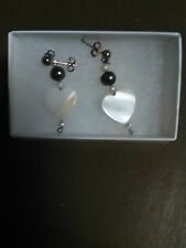 White Mother of Pearl heart with peacock freshwater pearl .925 silver Earrings