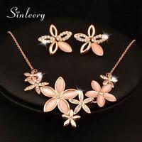 Charm Opal Flower Necklace Earrings Jewelry Set For Women 18K Rose Gold GP TZ143