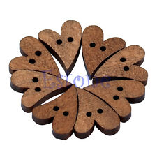 100pcs Lovely Brown Wood Wooden Sewing Heart Shape Button Craft Scrapbooking