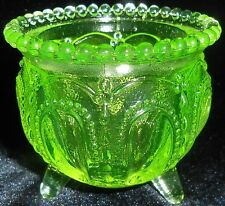 Green Vaseline glass toothpick holder uranium Canary yellow Gypsy pot kettle art