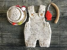 Newborn Baby Boy Girl Fishing Hat Overalls and Pole Crochet Prop Prop Outfit